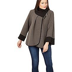 Izabel London - Grey wide sleeve wrap coat