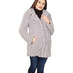 Izabel London - Grey shaggy fur coat
