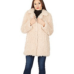 Izabel London - Beige shaggy fur coat