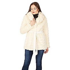 Izabel London - Beige faux fur belted coat