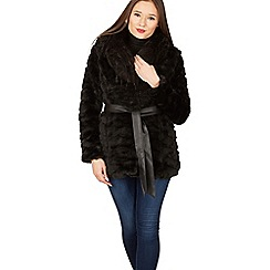 Izabel London - Black faux fur belted coat