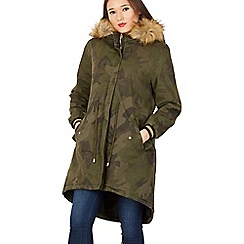 Izabel London - Khaki military print hooded parka coat