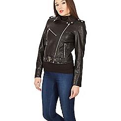 Izabel London - Black pu zip detail biker jacket