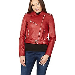 Izabel London - Red pu zip detail biker jacket