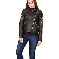 Izabel London - Black embroidered sleeve detail biker jacket