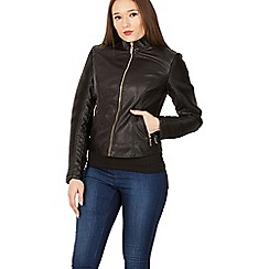 Izabel London - Black ribbed sleeves biker jacket