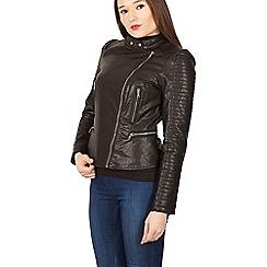 Izabel London - Black ribbed sleeve zip biker jacket