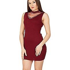 Izabel London - Purple mesh insert v neck bodycon dress