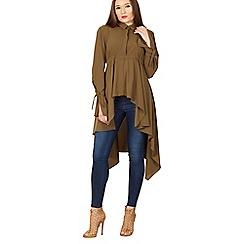 Izabel London - Khaki long sleeve asymmetric shirt top