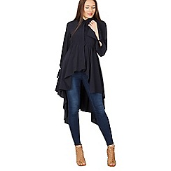 Izabel London - Navy long sleeve asymmetric shirt top
