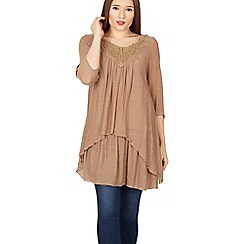 Izabel London - Brown 3/4 sleeve layered tunic top