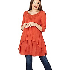 Izabel London - Orange 3/4 sleeve layered tunic top