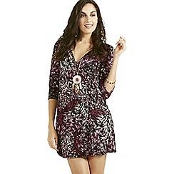 Apricot - Lilac brushstroke print wrap dress