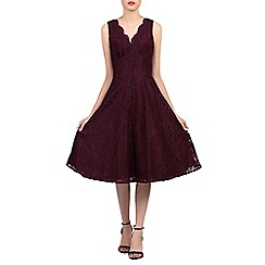 Jolie Moi - Dark red scalloped v neck fit & flare lace dress