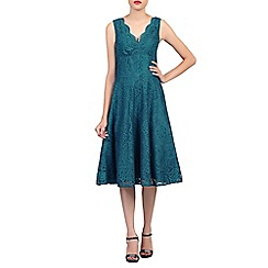 Jolie Moi - Dark turquoise scalloped v neck fit & flare lace dress