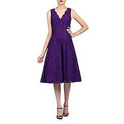 Jolie Moi - Purple scalloped v neck fit & flare lace dress