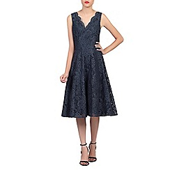 Jolie Moi - Dark grey scalloped v neck fit & flare lace dress