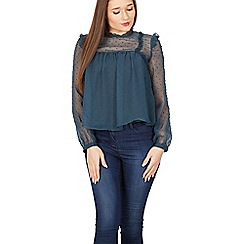 Izabel London - Blue frilled dobby crinkle blouse top