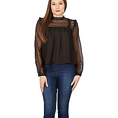 Izabel London - Black frilled dobby crinkle blouse top