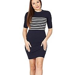 Izabel London - Multicoloured stripe print contrast knit dress