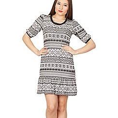 Izabel London - Black fair isle print dress