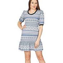 Izabel London - Blue fair isle print dress