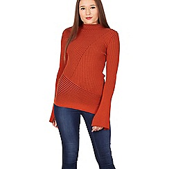 Izabel London - Orange asymmetric bell sleeve knit jumper