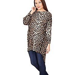 Izabel London - Multicoloured long sleeve animal print high low top