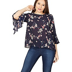 Izabel London - Navy floral & bird print blouse top