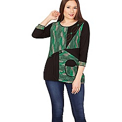 Izabel London - Multicoloured patchwork detailed 3/4 sleeve tunic top