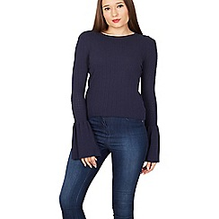 Izabel London - Navy bell sleeves knit jumper