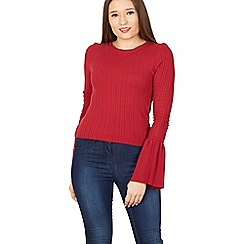 Izabel London - Wine bell sleeves knit jumper