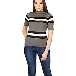 Izabel London - Multicoloured stripe border print knit jumper