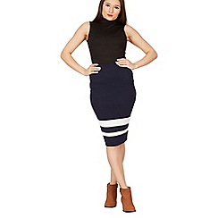 Izabel London - Navy colour block print knit skirt