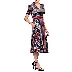Jolie Moi - Multicoloured floral print short sleeved 50s tea dress