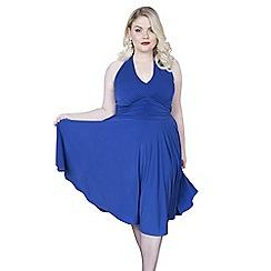 Emily - Blue marilyn halter neck jersey dress