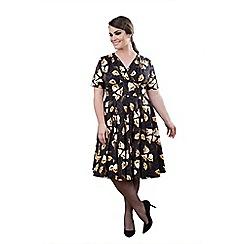 Emily - Navy surplice midi swing dress