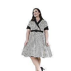 Emily - Cream jasmine retro rockabilly polka dress