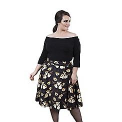 Emily - Navy rebecca 50s round high waist skirt