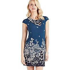 Apricot - Turquoise leaf print tunic dress