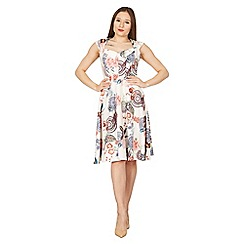 Feverfish - Cream sweet heart neck print flared dress