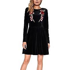 Amalie & Amber - Black velvet embroidered floral dress