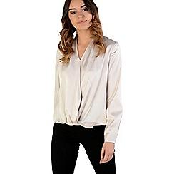 Amalie & Amber - Off white satin wrap front blouse
