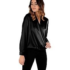 Amalie & Amber - Black satin wrap front blouse