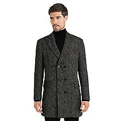 Steel & Jelly - Black double breasted herringbone boucle coat