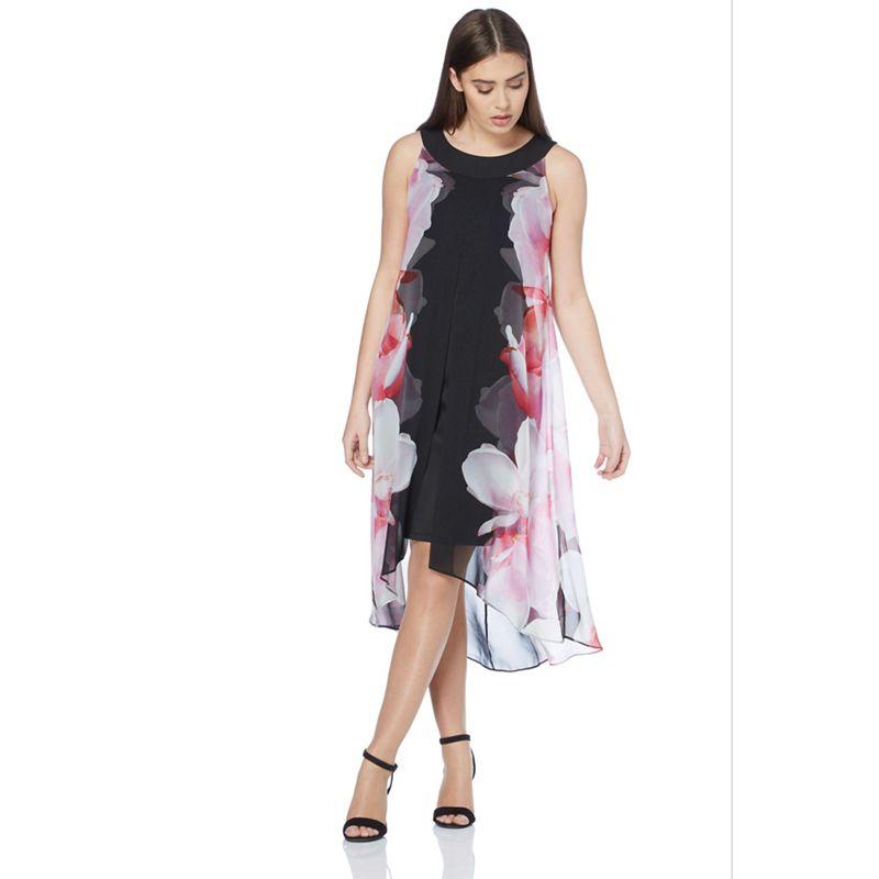Roman Originals - Pink Floral Print Split Chiffon Dress