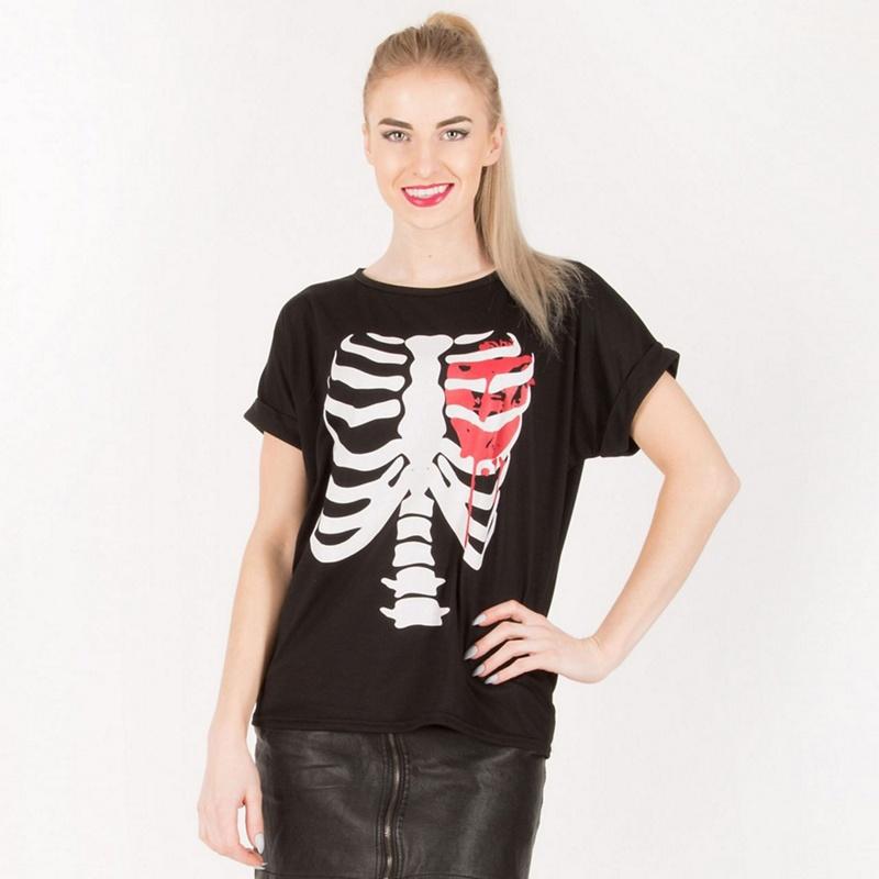 BE JEALOUS | Be Jealous - Bleeding Heart Graphic Print Halloween T-Shirt | Goxip