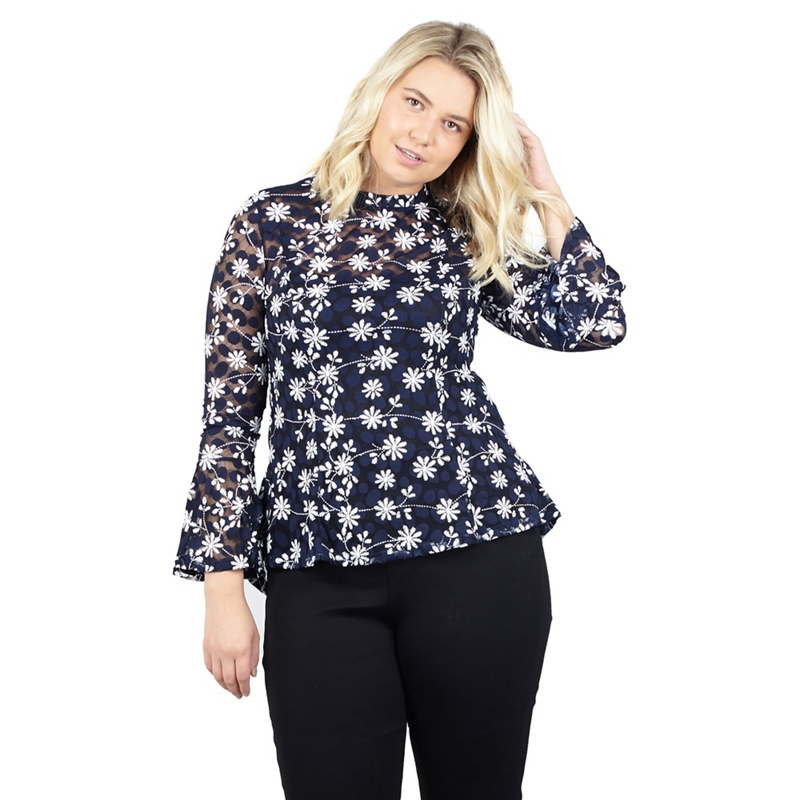 1cdd8364358 Izabel London Curve - Navy Printed Long Sleeve Lace Top
