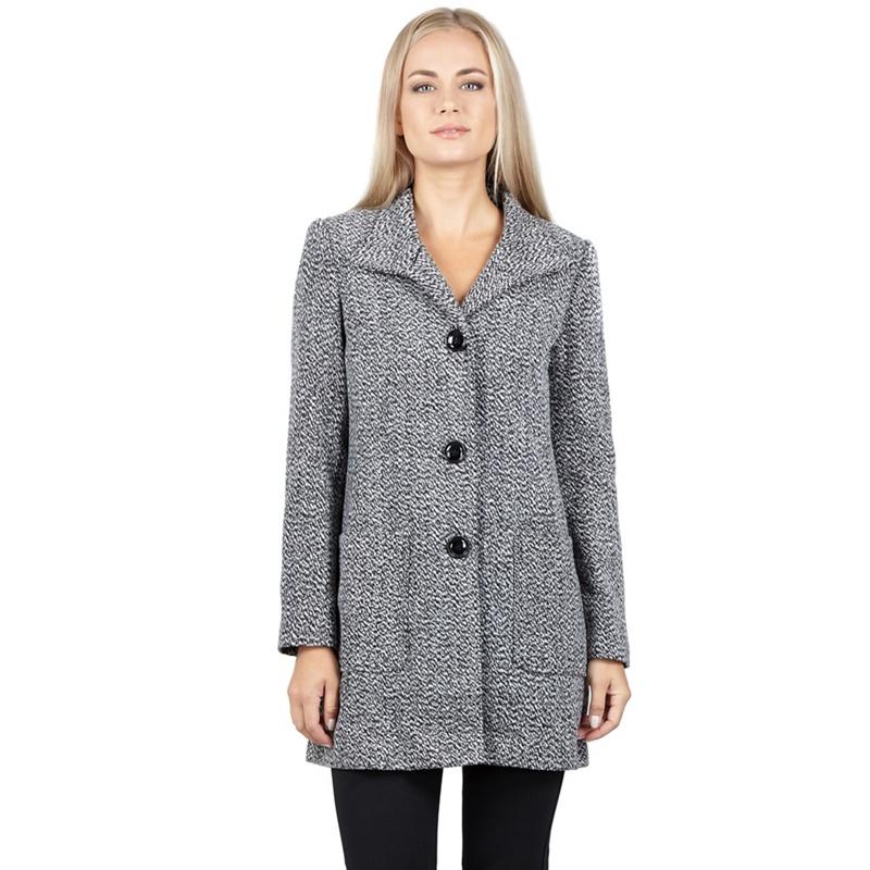 Izabel London - Grey Front Pocket Buttoned Longline Coat