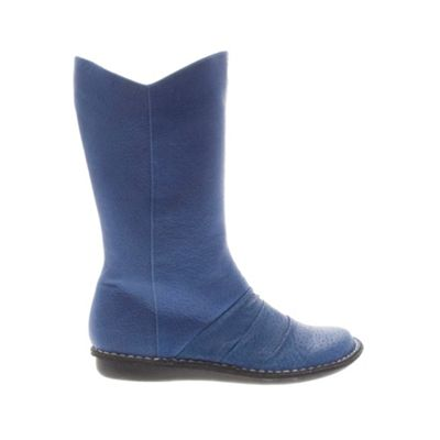 Blue sister moon leather mid high boot - Flat boots - Shoes & boots :  blue fashion leather blue boots